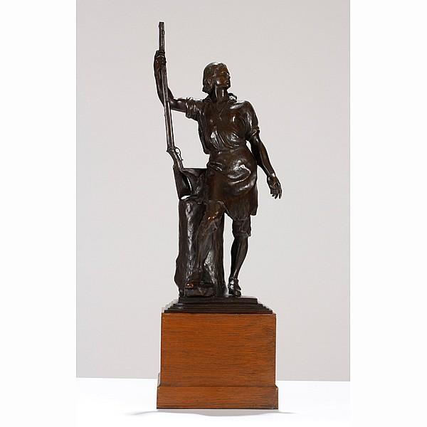 Albin Polasek, (1879 - 1965), The Remington Centennial Trophy, Eliphalet Remington II, bronze, Sculpture; 27