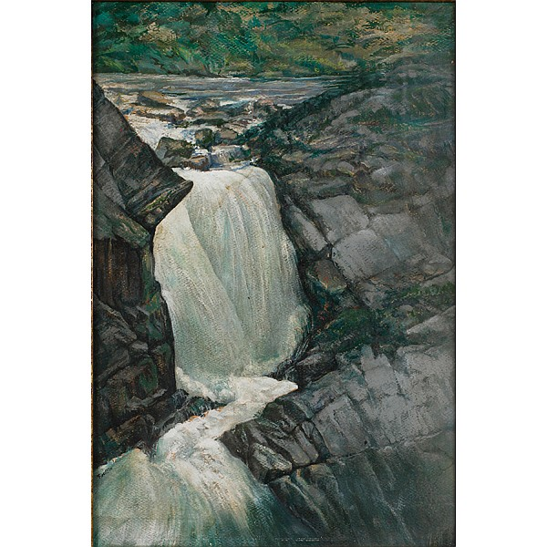 Herbert Reynolds (H.R.) Kniffin, (American; 1886 - 1970), Waterfall, Oil on paper laid down on board, 21 1/2