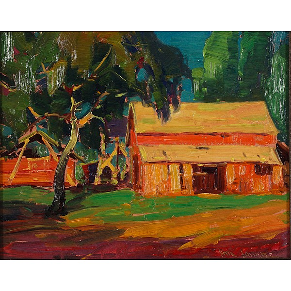 Paul Lauritz, (Norweigian/American; 1889 - 1975), Summer Farm, Oil on board, 11 1/2