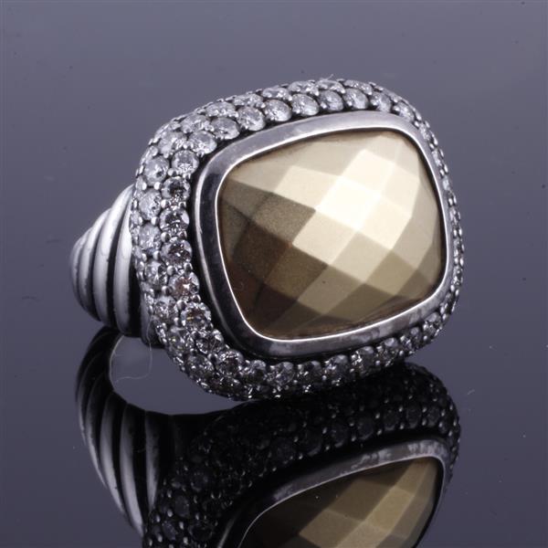 David Yurman 18K Gold & Sterling Silver Ring with Pave Diamond Halo.