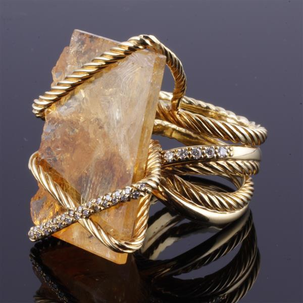 Early David Yurman Raw Citrine 18K yellow gold wrapped Ring with diamond accents.