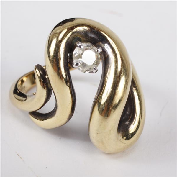 Yellow gold 18k and old mine cushion cut diamond freeform modernist estate ring