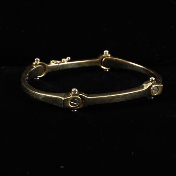 Designer Yellow gold 14k HEAVY solid link bracelet; industrial design with screw head motif.