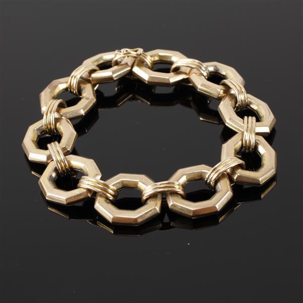 Gold 14K heavy solid octagonal open link chunky designer bracelet. 8