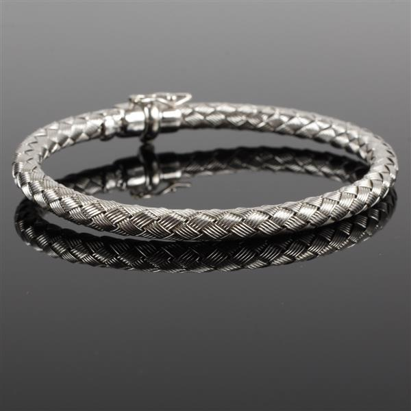 White gold 14k Italian Woven Snake Bangle Bracelet