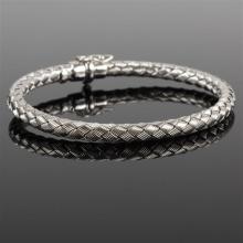 White gold 14k Italian Woven Snake Bangle Bracelet