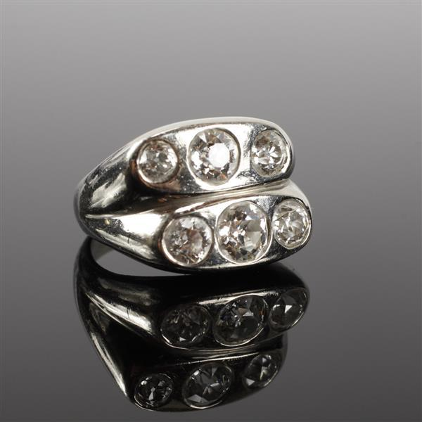 White Gold or Platinum unmarked Quality Diamond Double Stacked Modern Ring