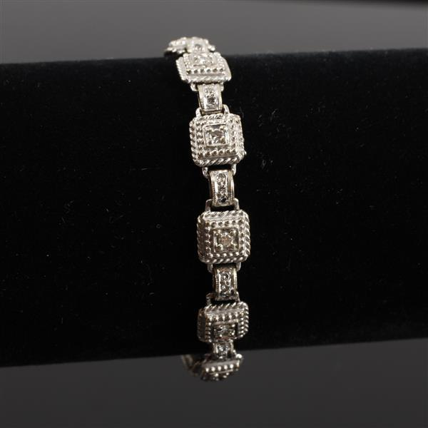 White Gold 18K Art Deco Style heavy diamond link bracelet. 6