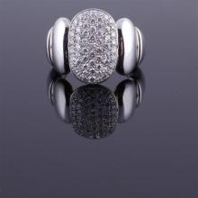 Chimento Modern reversible Designer white and yellow 18K gold pave diamond ring.