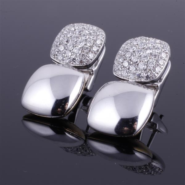 Chimento reversible Designer white and yellow 18K gold pave diamond earrings.