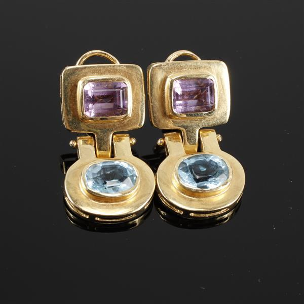 Contemporary modern pin hinged 14K yellow gold earrings with pink and blue tourmaline. Size 1.25