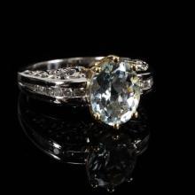 White and Yellow Gold 14K Aquamarine and Diamond Filigree Ring.