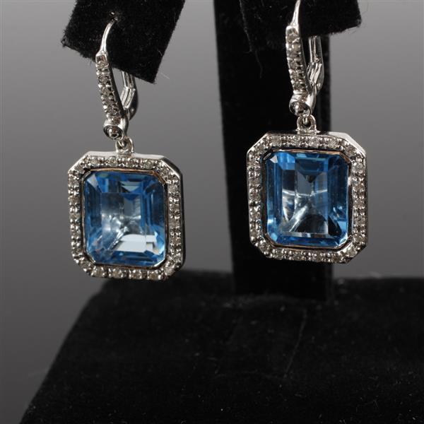 White Gold 14K 585 Swiss Blue Topaz diamond halo drop earrings. 1/2