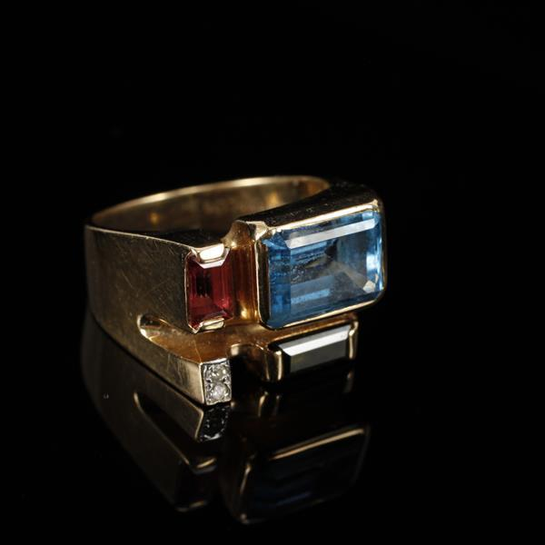 Yellow Gold 14K Custom Modernist Estate Ring with various stones; blue topaz, tourmaline and diamond.