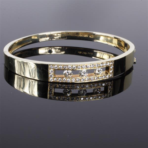 Yellow Gold 14K 585 bright finish modern diamond estate bangle bracelet.