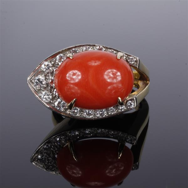 Yellow gold 18k Oxblood Coral and Diamond Vintage Modern Custom Estate Ring