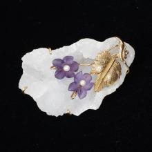 Druzy Quartz 14K Gold Wrapped Pin with Carved Amethyst & Pearl Flowers and chased gold leaves.