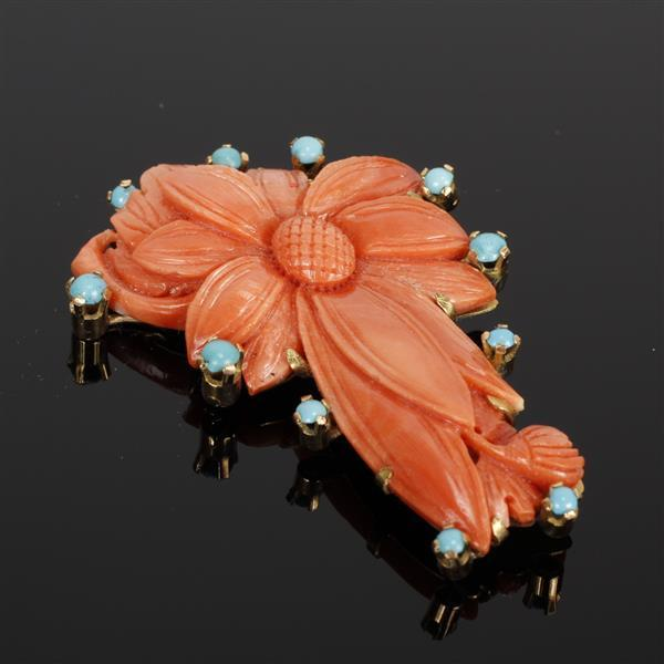 Fine & Detailed Pierce Carved Coral Flower Brooch Pin with Turquoise Accents mounted in 18K gold marked 750.
