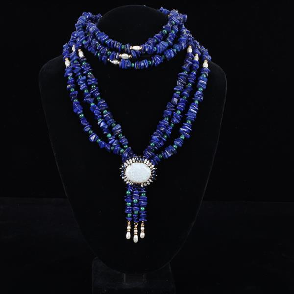 Marquise Sapphire and Diamond mounted Opal Medallion in 14K Gold on Multistrand Necklace beaded with Lapis, Malachite, and Freshwate...