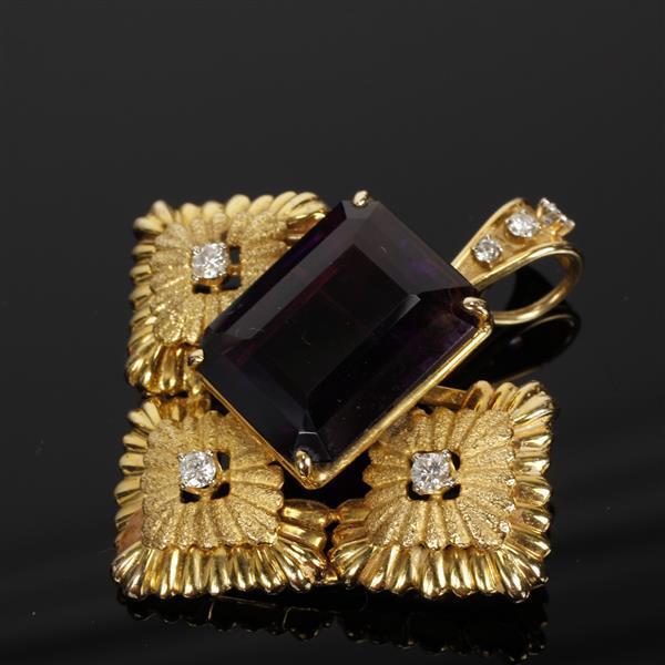 Yellow Gold 14K Deep Velvet Amethyst and Diamond Estate Pin Pendant; vintage modern starburst floral motif.