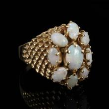 Yellow Gold 14K Vintage Modern Blue / Green Jelly Opal Estate Ring Size 6