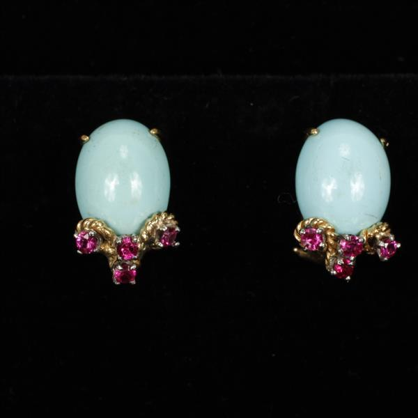 Yellow Gold 14K Sleeping Beauty Turquoise Cabochon and Pink Tourmaline Retro Estate Pierced Earrings. 1/2