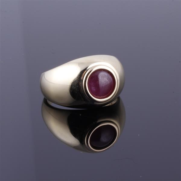Yellow Gold 14K Natural Star Ruby Domed Estate Ring.