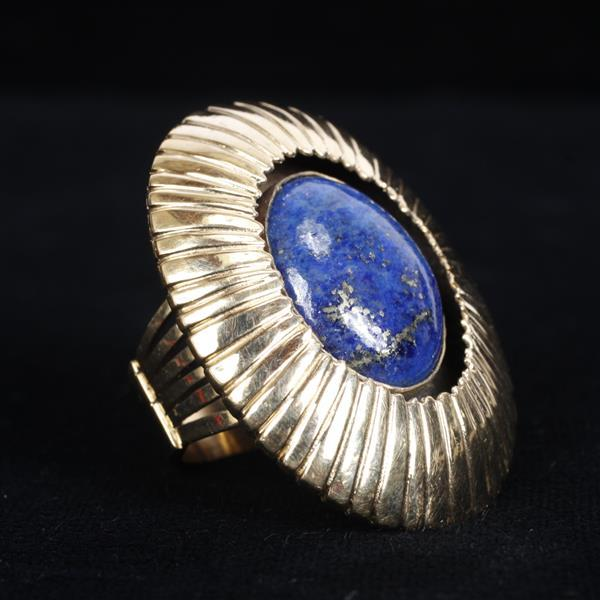 Possibly Navajo / Southwestern Native American? 14K Yellow Gold and Large Lapis Shadowbox Ring; Retro Modern Estate Jewelry. Size 8....
