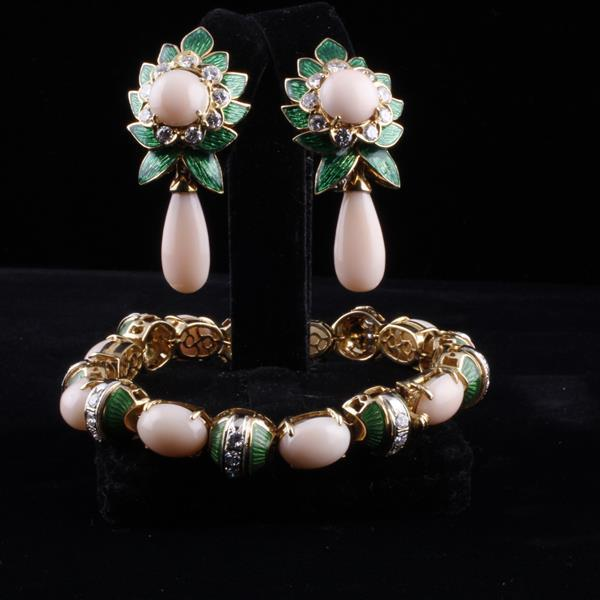 Retro Yellow Gold 18K Angel Skin Coral, French enamel and Diamond foliate SET; Bracelet and Earrings.
