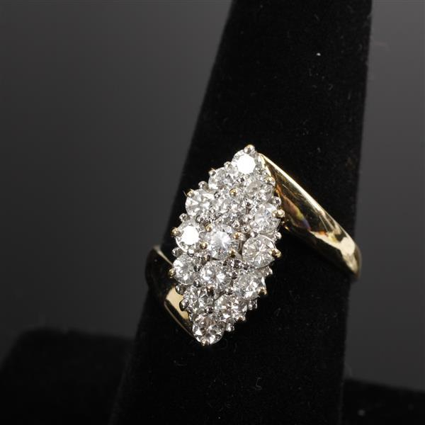 Yellow & White Gold 14K and Diamond Vintage Modern Estate Ring; 2cttw