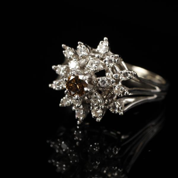 White Gold 14K Diamond Cluster Floral Estate Ring with Central Round Cognac Diamond; 18 stones.