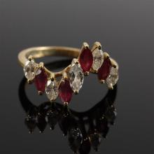 Yellow Gold 18K Marquise Diamond and Ruby Wave Ring. Size 8