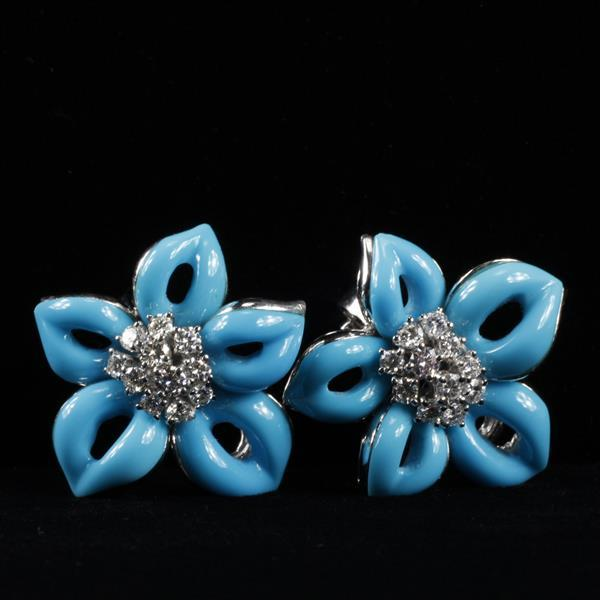 Designer White Gold 18K Diamond Cluster and Turquoise Opaque Glass Flower Earrings