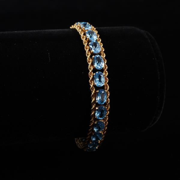 Yellow Gold 14K 585 Oval Blue Topaz Vintage Estate Rope Chain Tennis Bracelet 7