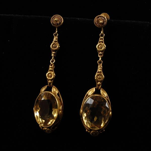 Edwardian Yellow Gold 14k Citrine Drop Antique Estate Screw Back Ear pendants
