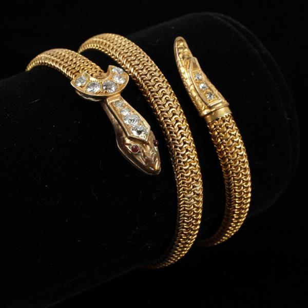 Retro / Antique 14K gold mesh serpent wrap estate bracelet with old mine cut diamonds.