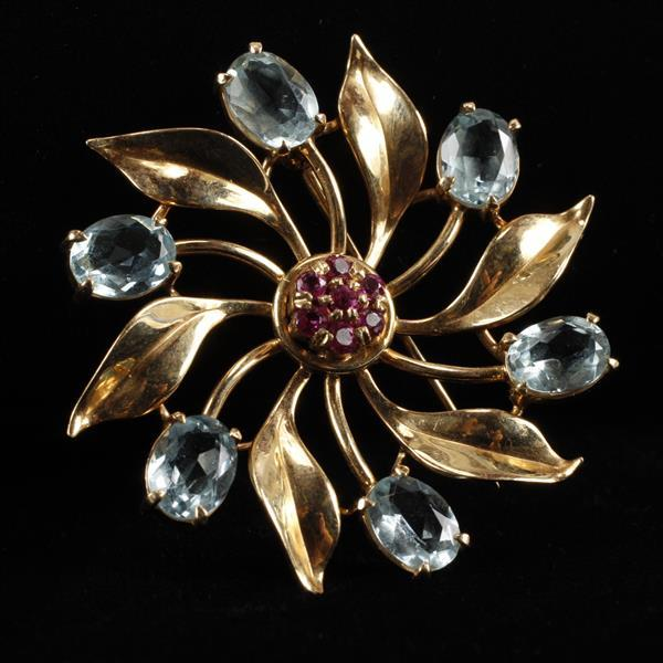 Retro Vintage Yellow gold ruby and aquamarine 14k Flower Brooch Pin