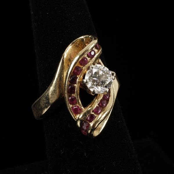 Yellow Gold 14K Custom Designer 1ct Diamond and Ruby Estate Ring.