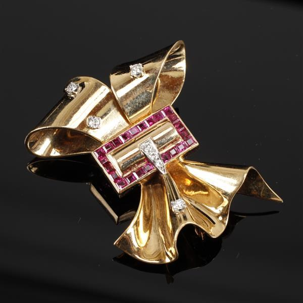 Retro Vintage Yellow Gold Burmese Ruby and Diamond 14K Bow Brooch Pin