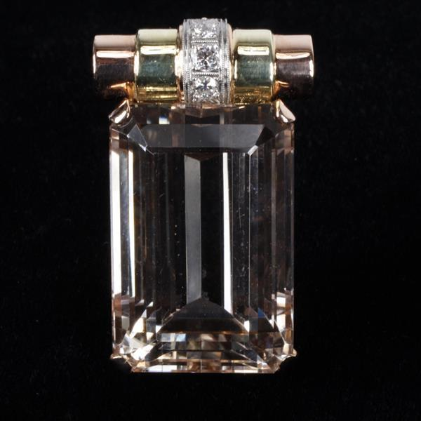 Velvety Morganite Classic Retro 14K Green and Rose Gold and Diamond pin fur clip / pendant.