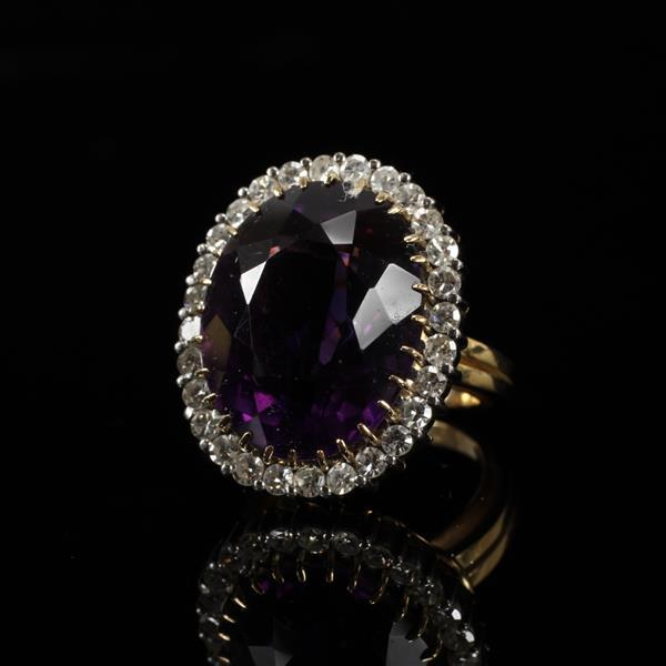 Yellow Gold 18K GIANT Deep Velvety Oval Amethyst Cocktail Estate Ring with single cut diamond halo. Size 8