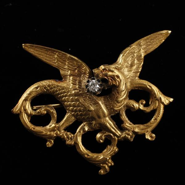Antique Victorian / Art Nouveau unmarked 14K Gold and Diamond Figural Griffin / Gryphon Pin / Pendant. 2