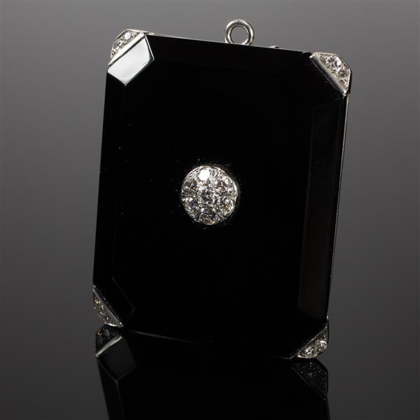 Art Deco White Gold Onyx and Diamond Pin Pendant Locket 2