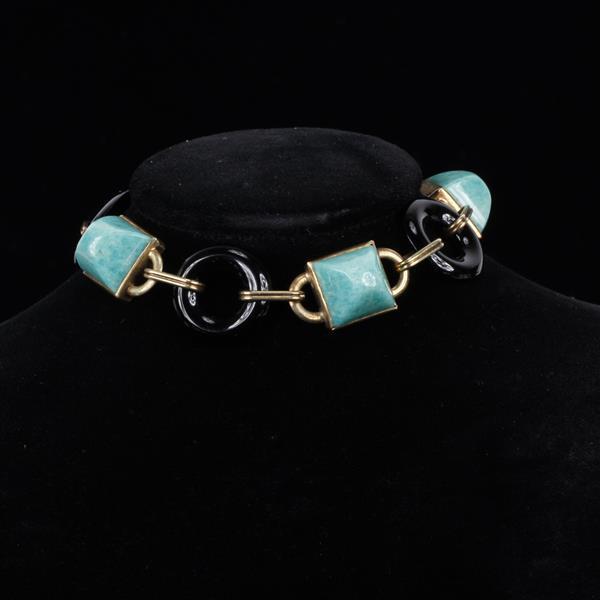 Art Deco 14K Gold Jade Sugar Loaf & Black Onyx Circle Link Bracelet