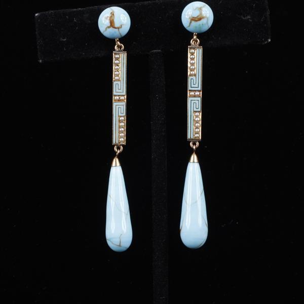 Brilliant Turquoise Czech Glass & 14K Gold Art Deco Enamel Drop Earrings