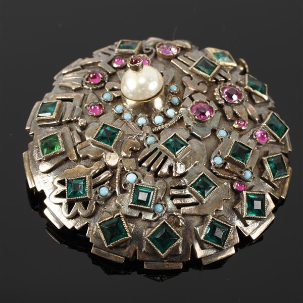 French Art Deco unmarked 14K Gold Jeweled Pin Brooch with emeralds, ruby, turquoise and pearl. Size 3