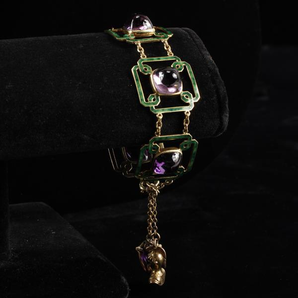 Art Deco yellow gold 14k bracelet with enamel & sugar loaf amethyst cabochons. Knight & shield charms.