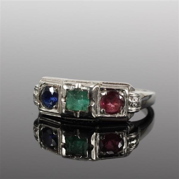 Retro white gold sapphire emerald and ruby mother''s ring; ca.1940s/50s. Size 7