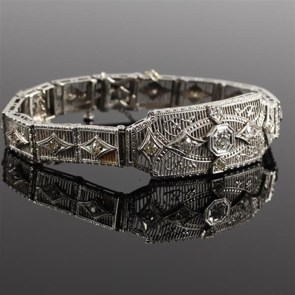 White gold 14k and Diamond Art Deco Filigree Bracelet
