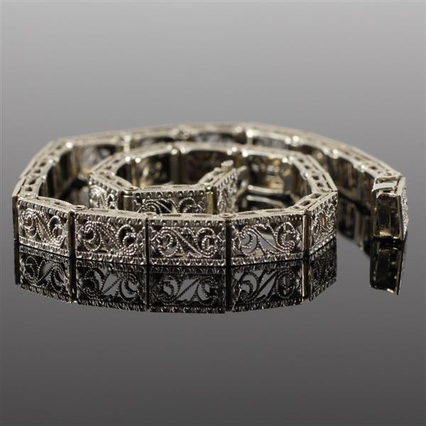 Art Deco 14k White Gold & Platinum Filigree Bracelet. 7 1/2